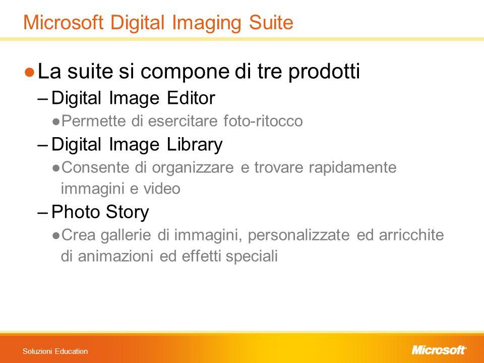 Soluzioni Education Microsoft Digital Imaging Suite ●La suite si compone di tre prodotti –Digital Image Editor ●Permette di esercitare foto-ritocco –D