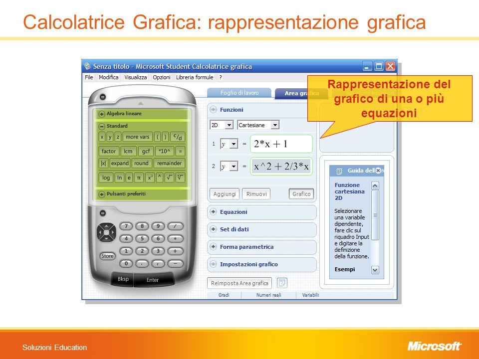 Soluzioni Education Calcolatrice Grafica: rappresentazione grafica Rappresentazione del grafico di una o più equazioni