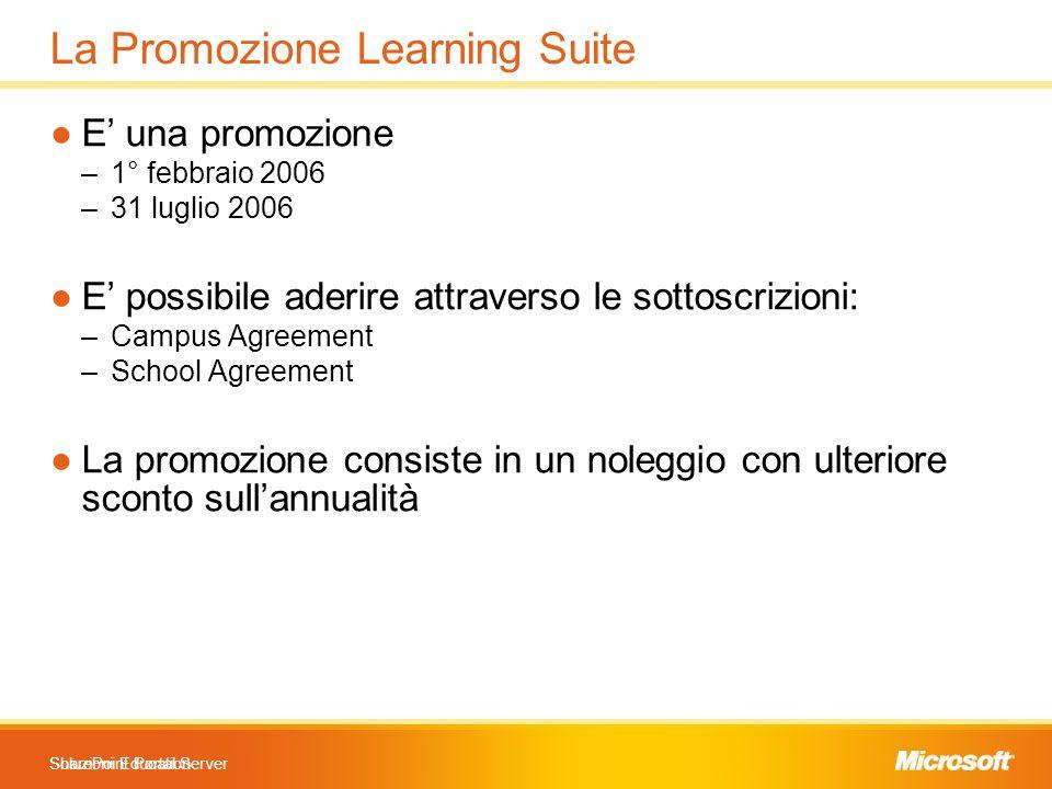 Soluzioni Education La Promozione Learning Suite SharePoint Portal Server ●E' una promozione –1° febbraio 2006 –31 luglio 2006 ●E' possibile aderire a