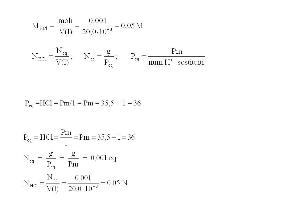 P eq =HCl = Pm/1 = Pm = 35,5 + 1 = 36