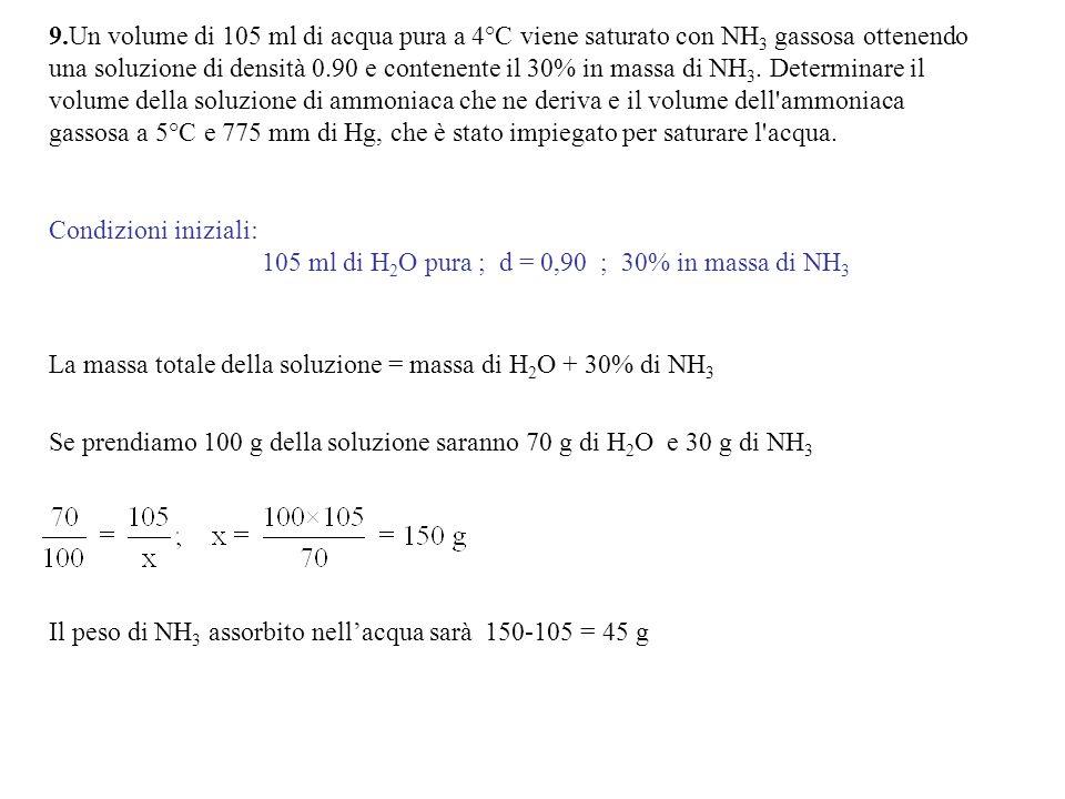 9.Un volume di 105 ml di acqua pura a 4°C viene saturato con NH 3 gassosa ottenendo una soluzione di densità 0.90 e contenente il 30% in massa di NH 3.