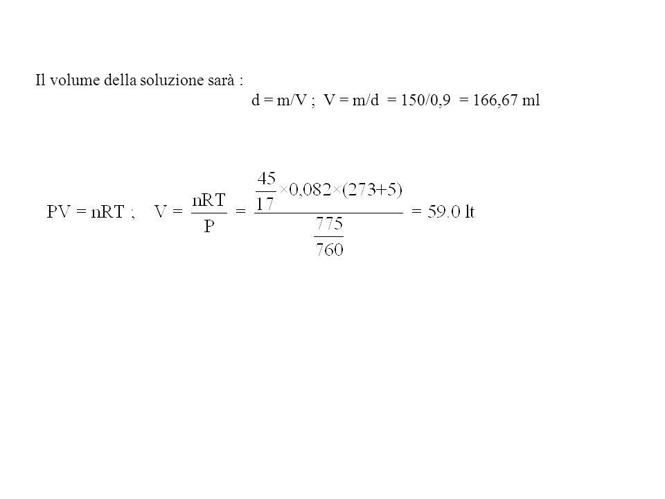 Il volume della soluzione sarà : d = m/V ; V = m/d = 150/0,9 = 166,67 ml
