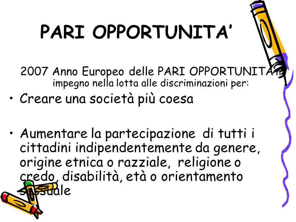 PARI OPPORTUNITA' 2007 Anno Europeo delle PARI OPPORTUNITA' n impegno nella lotta alle discriminazioni per: Creare una società più coesa Aumentare la