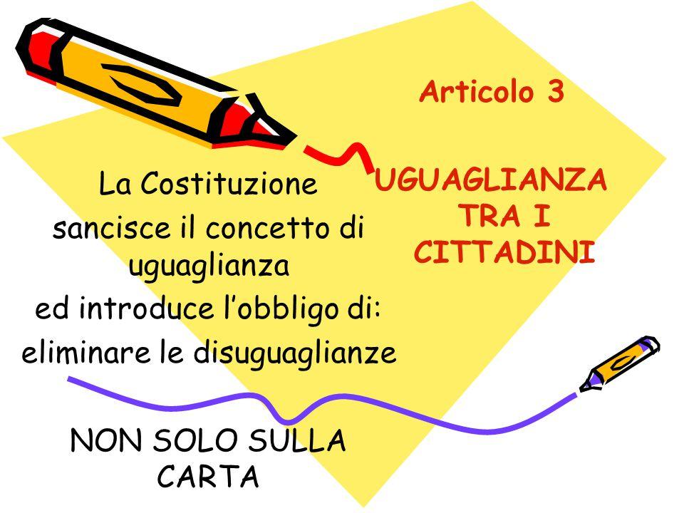 Articolo 3 UGUAGLIANZA TRA I CITTADINI La Costituzione sancisce il concetto di uguaglianza ed introduce l'obbligo di: eliminare le disuguaglianze NON