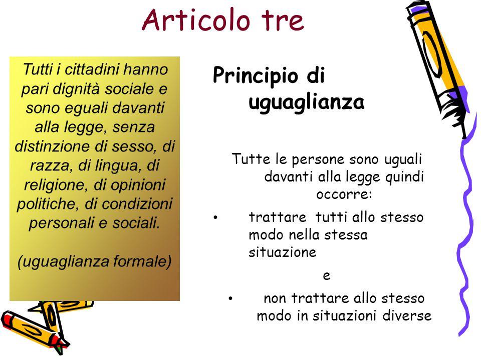 Articolo tre Tutti i cittadini hanno pari dignità sociale e sono eguali davanti alla legge, senza distinzione di sesso, di razza, di lingua, di religi