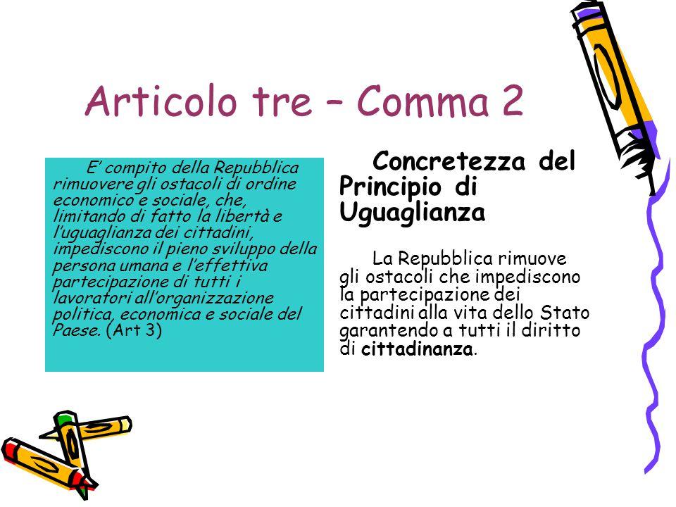 Articolo tre – Comma 2 E' compito della Repubblica rimuovere gli ostacoli di ordine economico e sociale, che, limitando di fatto la libertà e l'uguagl