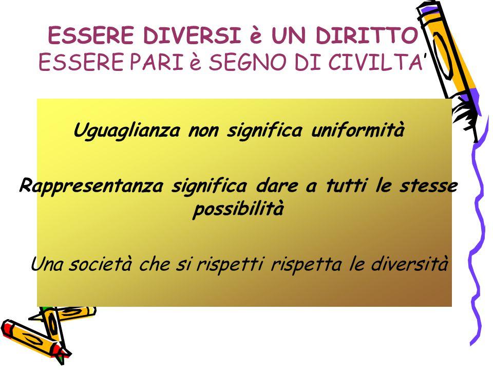 ESSERE DIVERSI è UN DIRITTO ESSERE PARI è SEGNO DI CIVILTA' Uguaglianza non significa uniformità Rappresentanza significa dare a tutti le stesse possi
