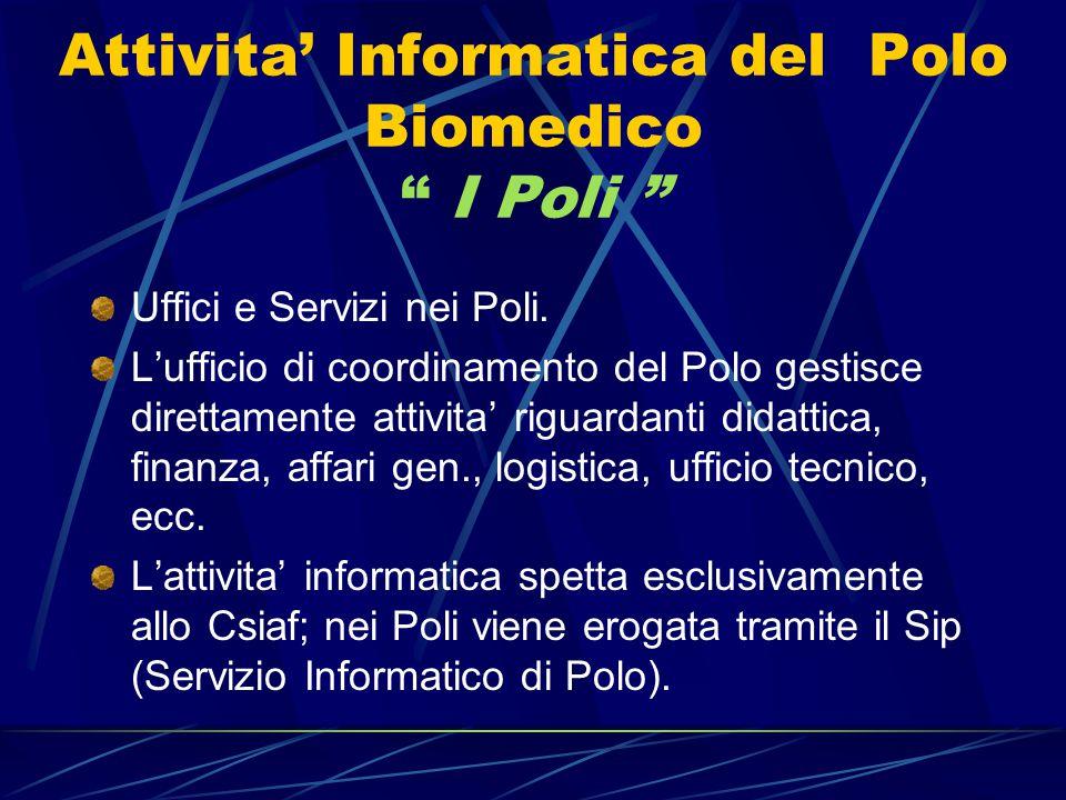 Attivita' Informatica del Polo Biomedico I Poli Uffici e Servizi nei Poli.