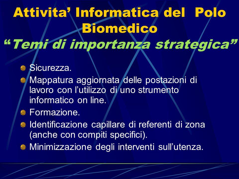 """Attivita' Informatica del Polo Biomedico """"Temi di importanza strategica"""" Sicurezza. Mappatura aggiornata delle postazioni di lavoro con l'utilizzo di"""