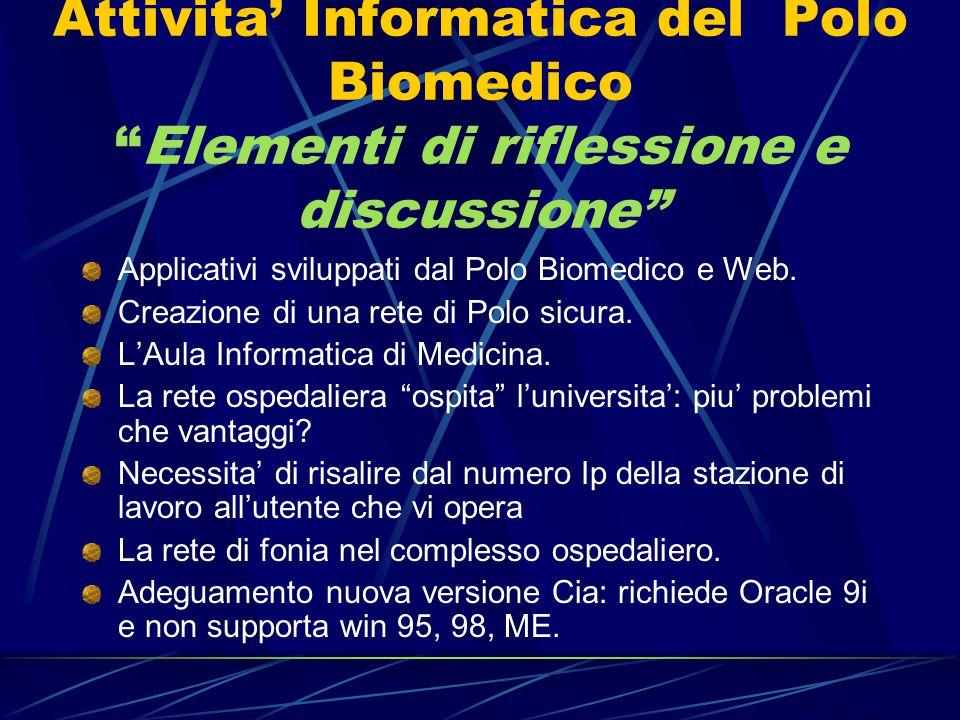 """Attivita' Informatica del Polo Biomedico """"Elementi di riflessione e discussione"""" Applicativi sviluppati dal Polo Biomedico e Web. Creazione di una ret"""