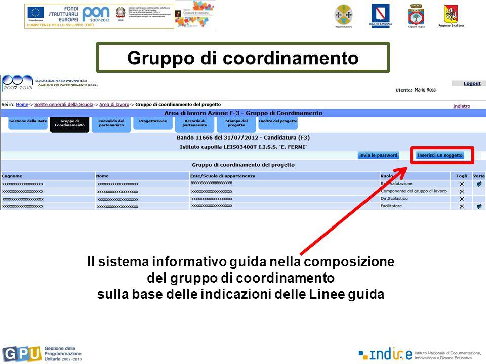 Gruppo di coordinamento Il sistema informativo guida nella composizione del gruppo di coordinamento sulla base delle indicazioni delle Linee guida