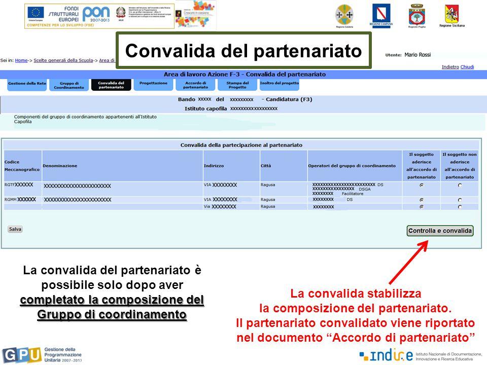 La convalida stabilizza la composizione del partenariato.