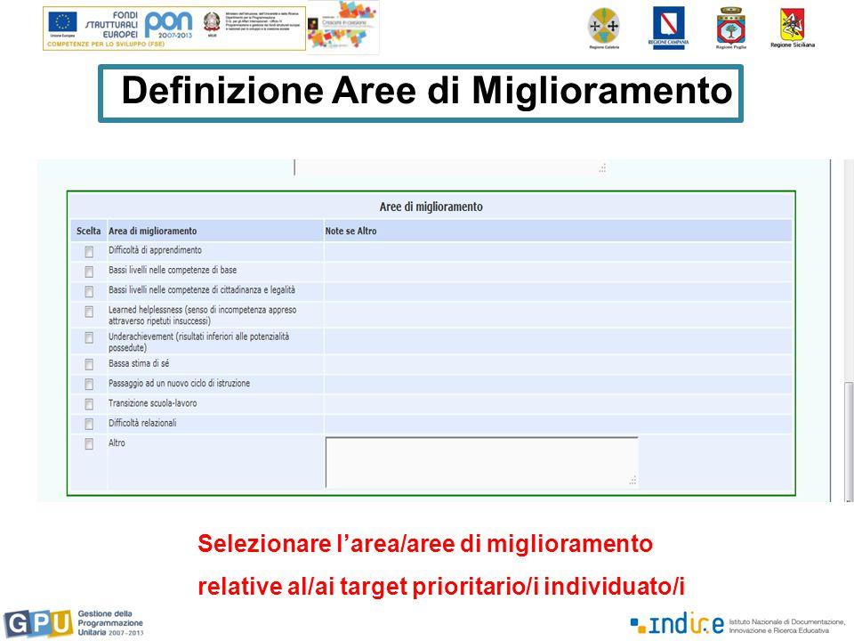Definizione Aree di Miglioramento Selezionare l'area/aree di miglioramento relative al/ai target prioritario/i individuato/i