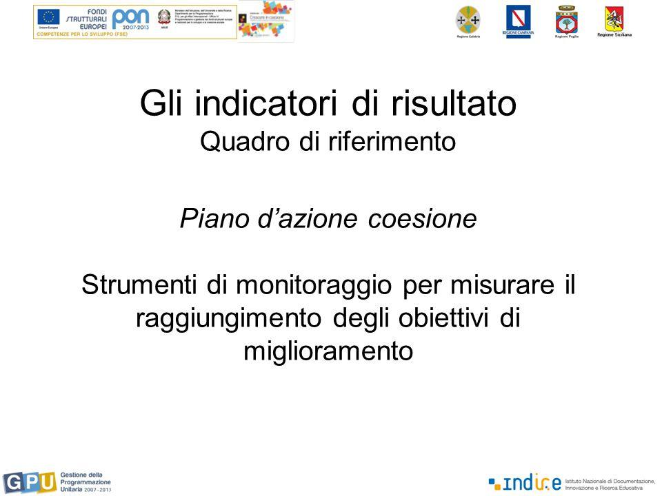 Gli indicatori di risultato Quadro di riferimento Piano d'azione coesione Strumenti di monitoraggio per misurare il raggiungimento degli obiettivi di miglioramento