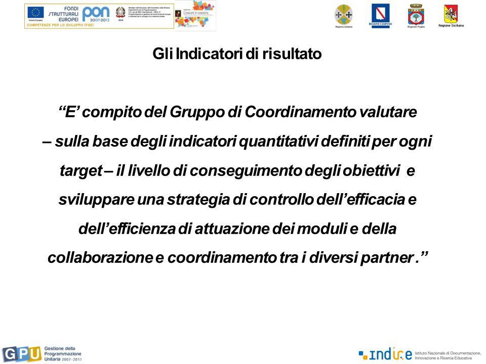 Gli Indicatori di risultato E' compito del Gruppo di Coordinamento valutare – sulla base degli indicatori quantitativi definiti per ogni target – il livello di conseguimento degli obiettivi e sviluppare una strategia di controllo dell'efficacia e dell'efficienza di attuazione dei moduli e della collaborazione e coordinamento tra i diversi partner.