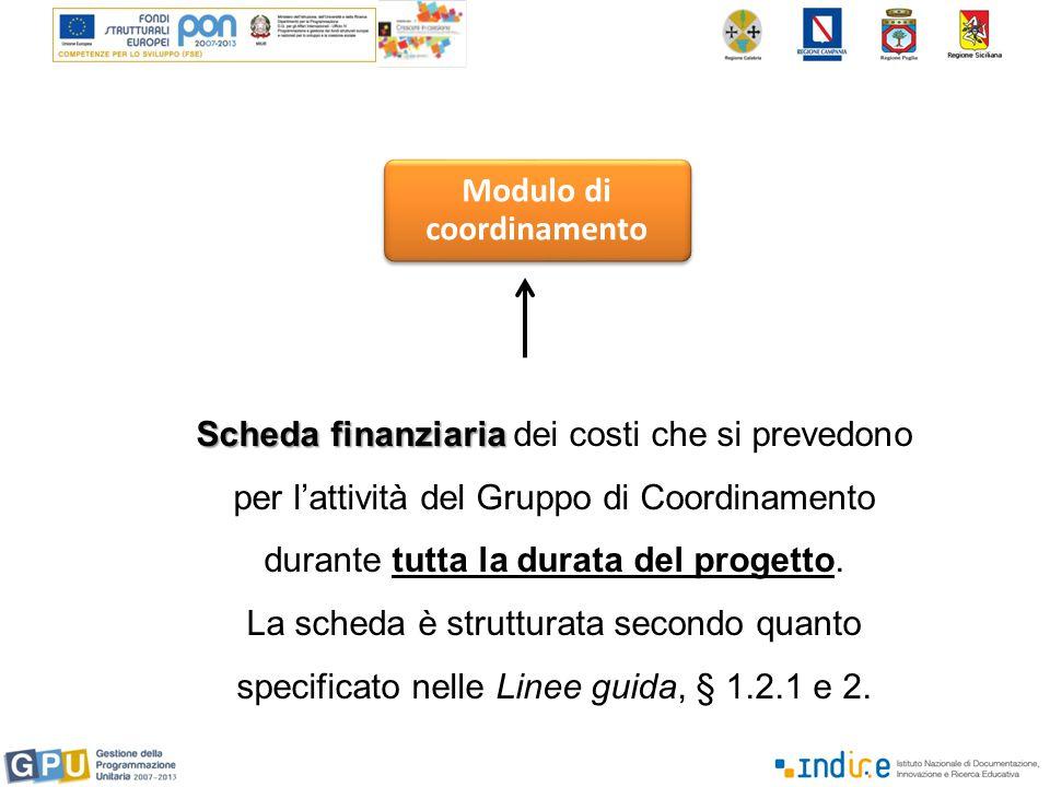 Modulo di coordinamento Scheda finanziaria Scheda finanziaria dei costi che si prevedono per l'attività del Gruppo di Coordinamento durante tutta la durata del progetto.