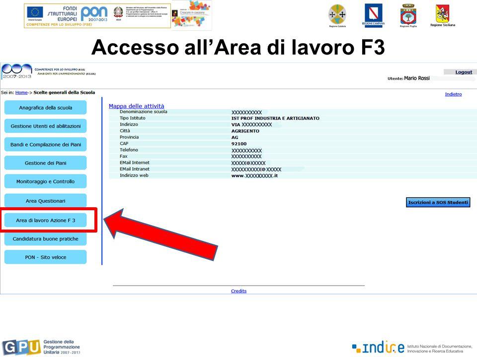 Accesso all'Area di lavoro F3
