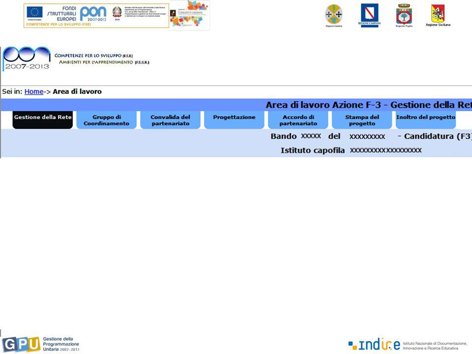 Il sistema deriva le informazioni sul partenariato dall'area predisposta per la fase di candidatura.