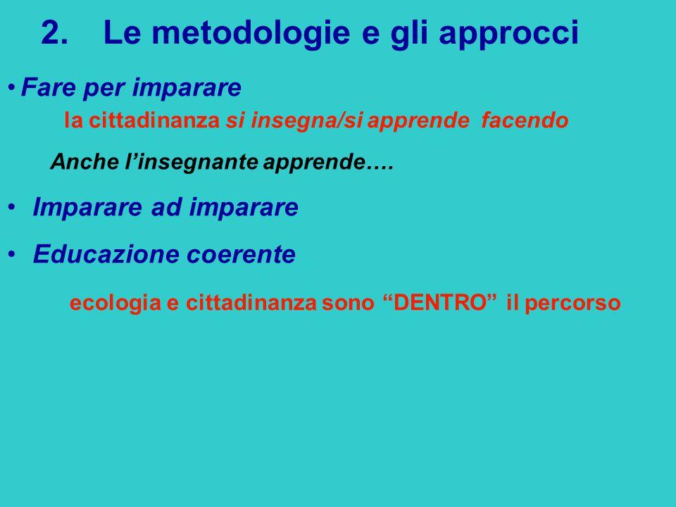 2.Le metodologie e gli approcci Fare per imparare la cittadinanza si insegna/si apprende facendo Anche l'insegnante apprende….