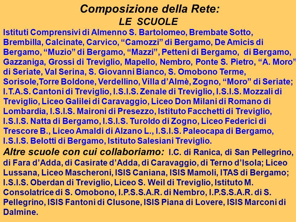 """Composizione della Rete: LE SCUOLE Istituti Comprensivi di Almenno S. Bartolomeo, Brembate Sotto, Brembilla, Calcinate, Carvico, """"Camozzi"""" di Bergamo,"""