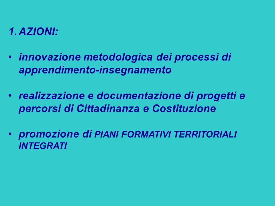 1.AZIONI: innovazione metodologica dei processi di apprendimento-insegnamento realizzazione e documentazione di progetti e percorsi di Cittadinanza e Costituzione promozione di PIANI FORMATIVI TERRITORIALI INTEGRATI