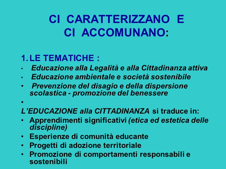 CI CARATTERIZZANO E CI ACCOMUNANO: 1.LE TEMATICHE : Educazione alla Legalità e alla Cittadinanza attiva Educazione ambientale e società sostenibile Pr