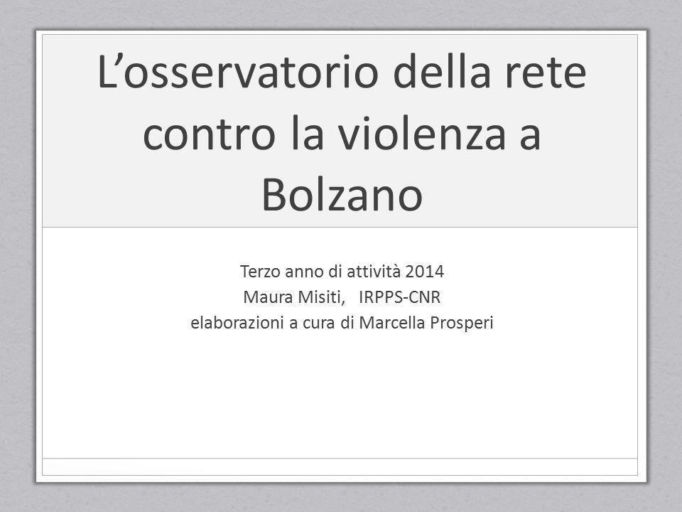 L'osservatorio della rete contro la violenza a Bolzano Terzo anno di attività 2014 Maura Misiti, IRPPS-CNR elaborazioni a cura di Marcella Prosperi