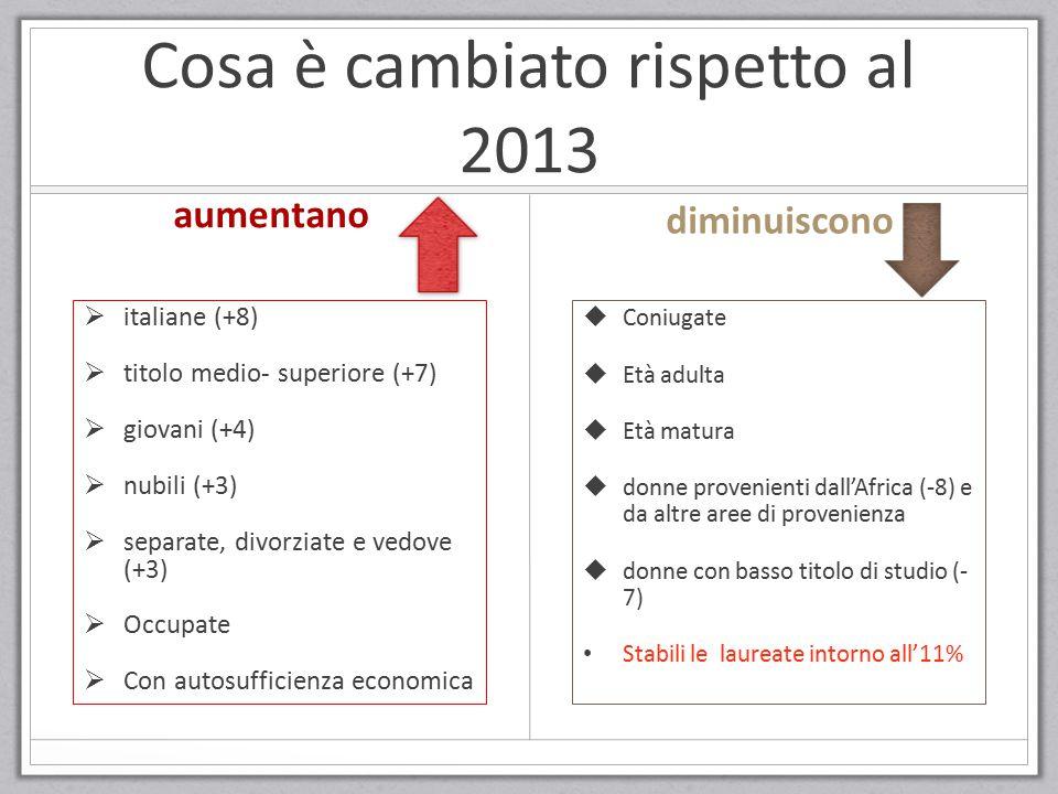 Cosa è cambiato rispetto al 2013  italiane (+8)  titolo medio- superiore (+7)  giovani (+4)  nubili (+3)  separate, divorziate e vedove (+3)  Oc
