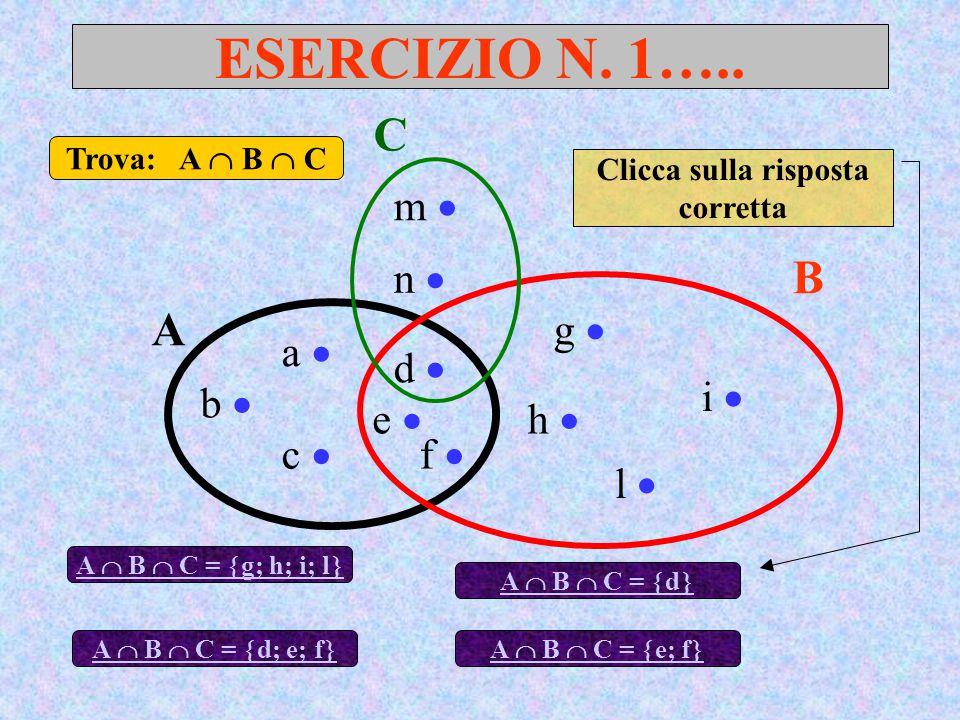 ESERCIZIO N. 1….. A B a  d  c  b  e  f  g  h  l  i  Trova: A  B  C A  B  C =  g; h; i; l  C m  n  A  B  C =  d; e; f  A  B  C