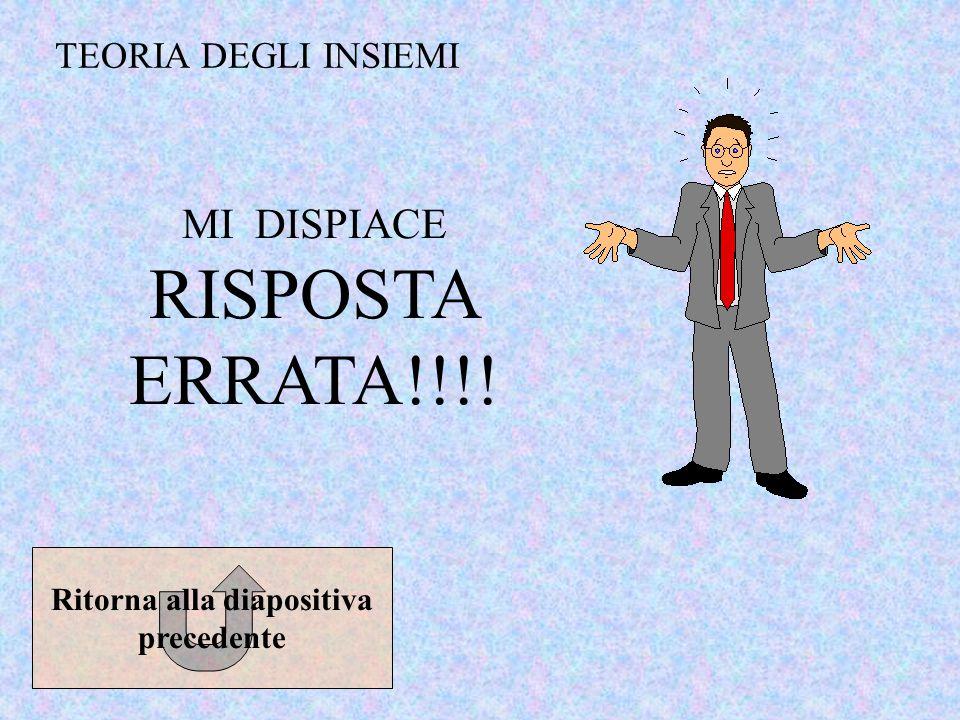 TEORIA DEGLI INSIEMI MI DISPIACE RISPOSTA ERRATA!!!! Ritorna alla diapositiva precedente