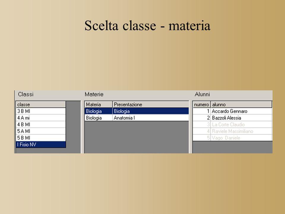Scelta classe - materia