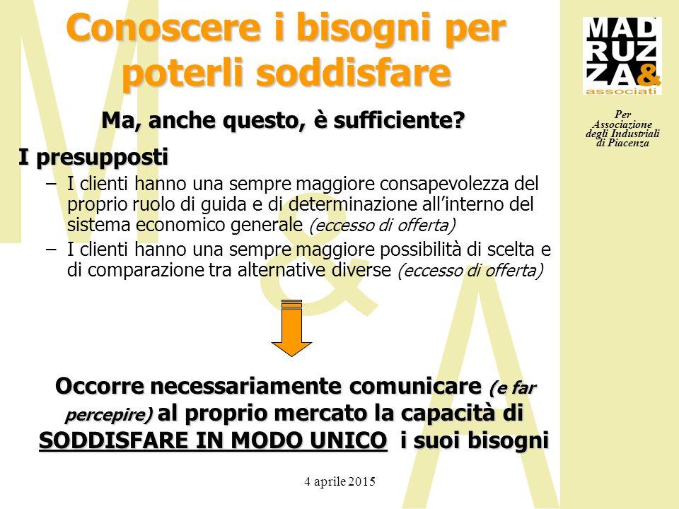 Per Associazione degli Industriali di Piacenza 4 aprile 2015 Conoscere i bisogni per poterli soddisfare Occorre necessariamente comunicare (e far perc