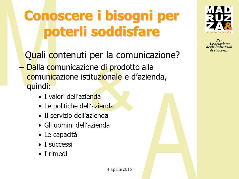 Per Associazione degli Industriali di Piacenza 4 aprile 2015 Conoscere i bisogni per poterli soddisfare Quali contenuti per la comunicazione? –Dalla c