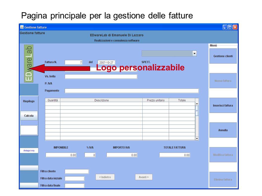 Pagina principale per la gestione delle fatture Logo personalizzabile