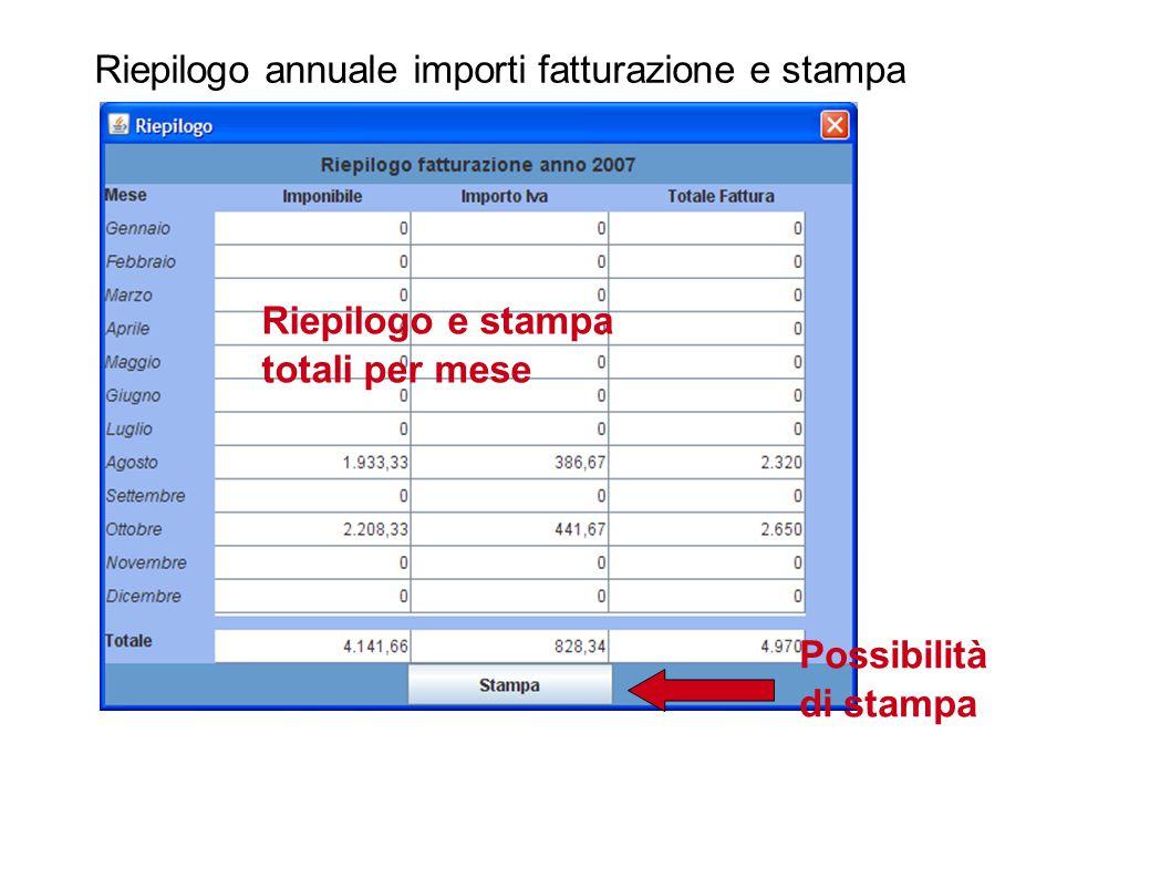 Riepilogo annuale importi fatturazione e stampa Riepilogo e stampa totali per mese Possibilità di stampa