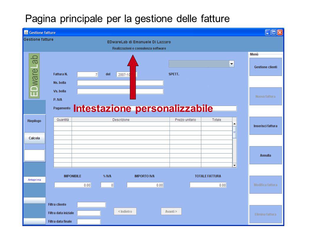 Pagina principale per la gestione delle fatture Intestazione personalizzabile