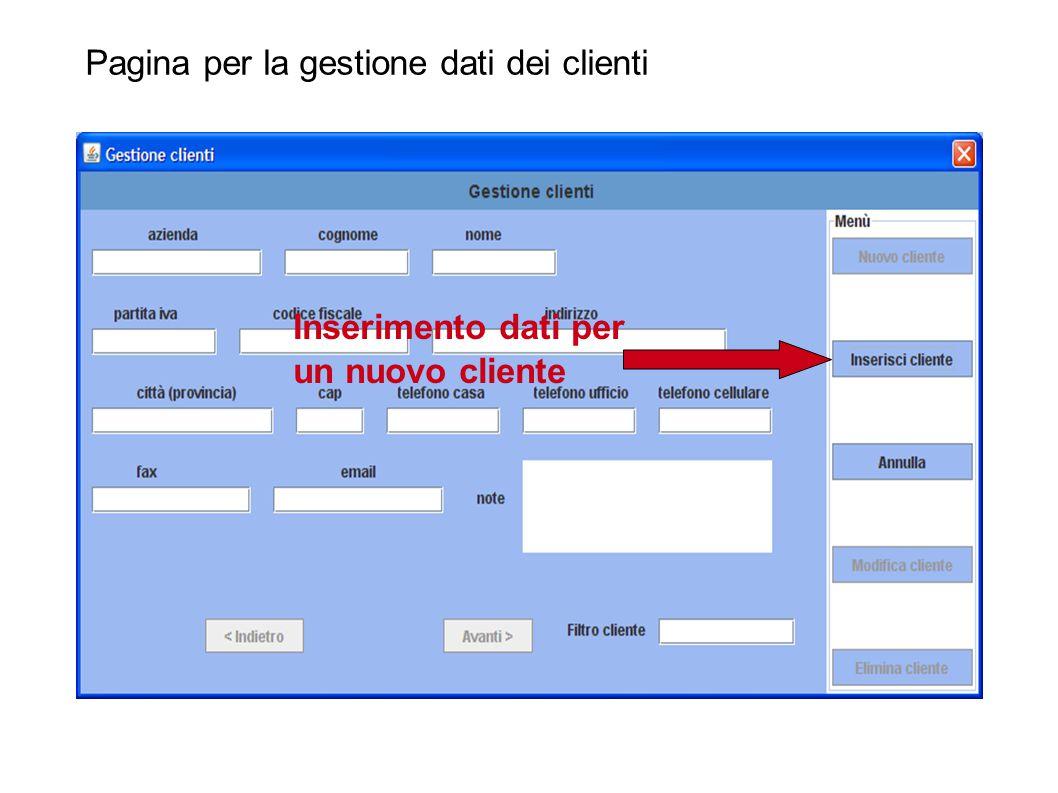 Pagina per la gestione dati dei clienti Campi per immissione dati di nuovo cliente
