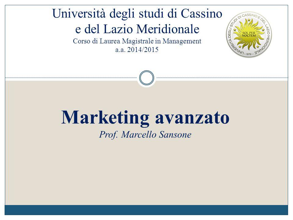 Università degli studi di Cassino e del Lazio Meridionale Corso di Laurea Magistrale in Management a.a. 2014/2015 Marketing avanzato Prof. Marcello Sa