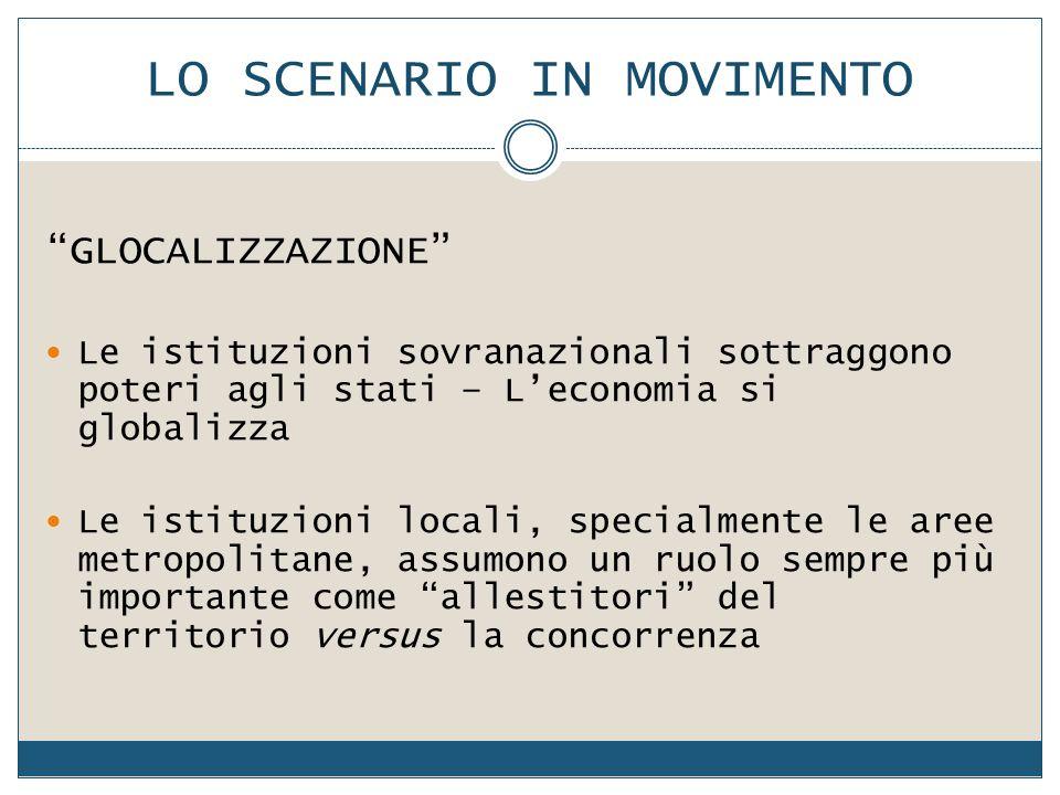 """LO SCENARIO IN MOVIMENTO """"GLOCALIZZAZIONE"""" Le istituzioni sovranazionali sottraggono poteri agli stati – L'economia si globalizza Le istituzioni local"""