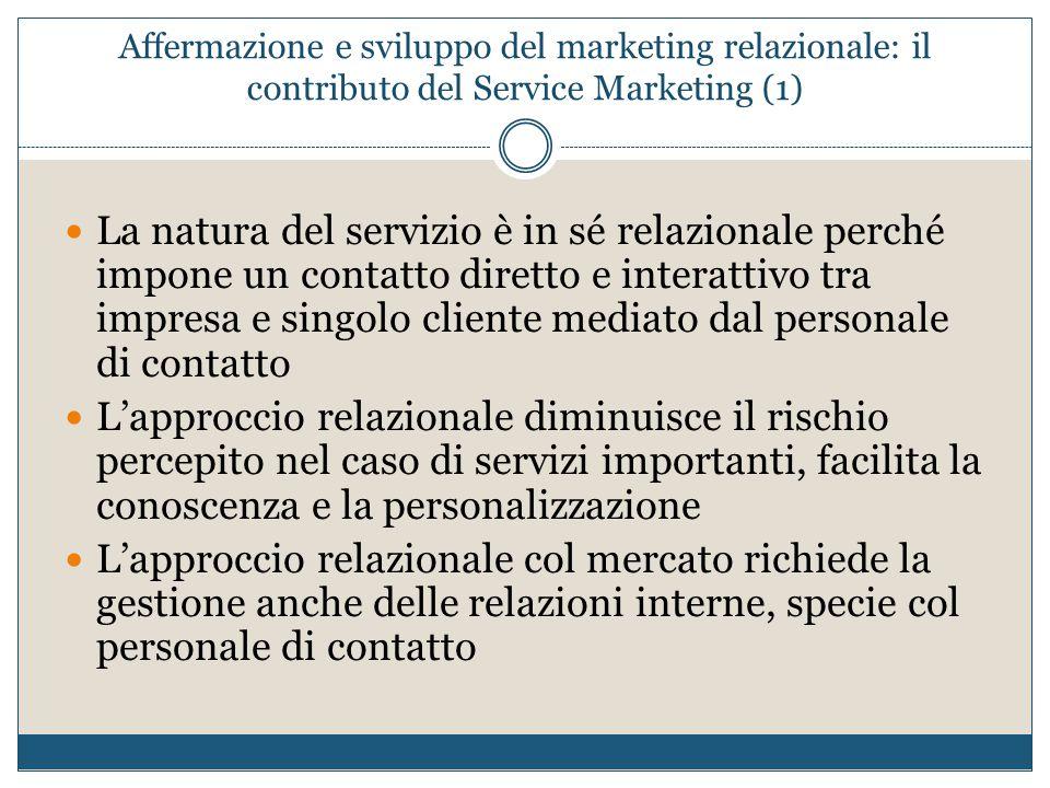 Affermazione e sviluppo del marketing relazionale: il contributo del Service Marketing (1) La natura del servizio è in sé relazionale perché impone un