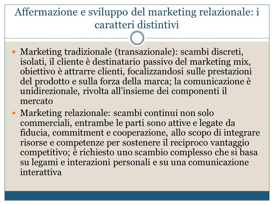 Affermazione e sviluppo del marketing relazionale: i caratteri distintivi Marketing tradizionale (transazionale): scambi discreti, isolati, il cliente