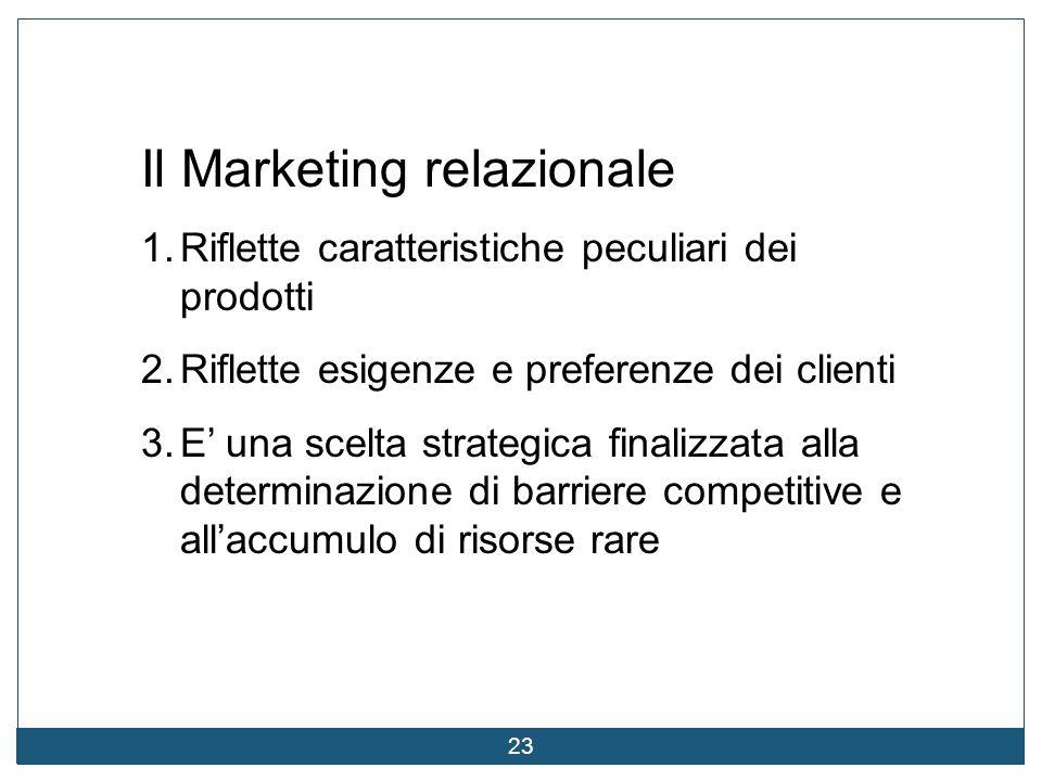 23 Il Marketing relazionale 1.Riflette caratteristiche peculiari dei prodotti 2.Riflette esigenze e preferenze dei clienti 3.E' una scelta strategica