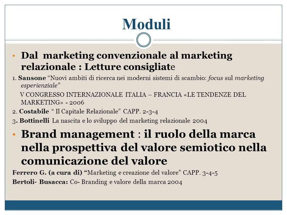 """Moduli Dal marketing convenzionale al marketing relazionale : Letture consigliate 1. Sansone """"Nuovi ambiti di ricerca nei moderni sistemi di scambio:"""