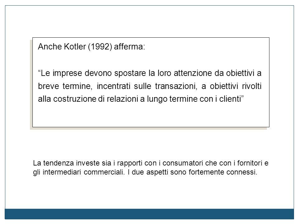 """Anche Kotler (1992) afferma: """"Le imprese devono spostare la loro attenzione da obiettivi a breve termine, incentrati sulle transazioni, a obiettivi ri"""