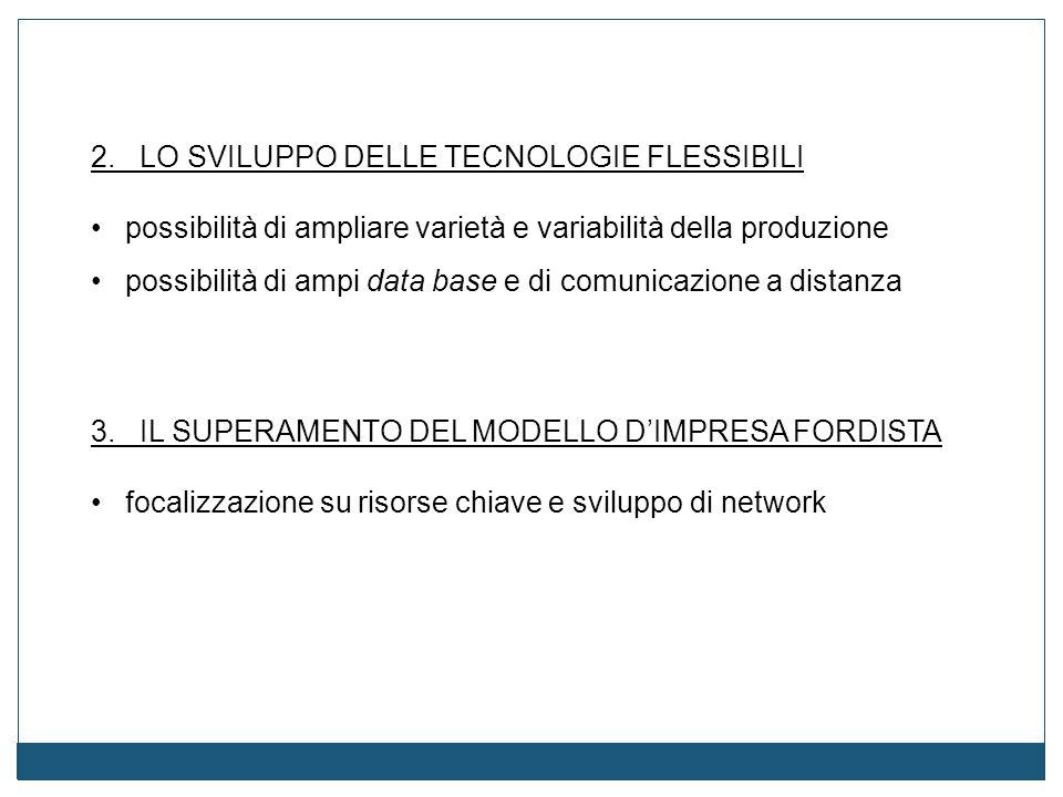 2. LO SVILUPPO DELLE TECNOLOGIE FLESSIBILI possibilità di ampliare varietà e variabilità della produzione possibilità di ampi data base e di comunicaz
