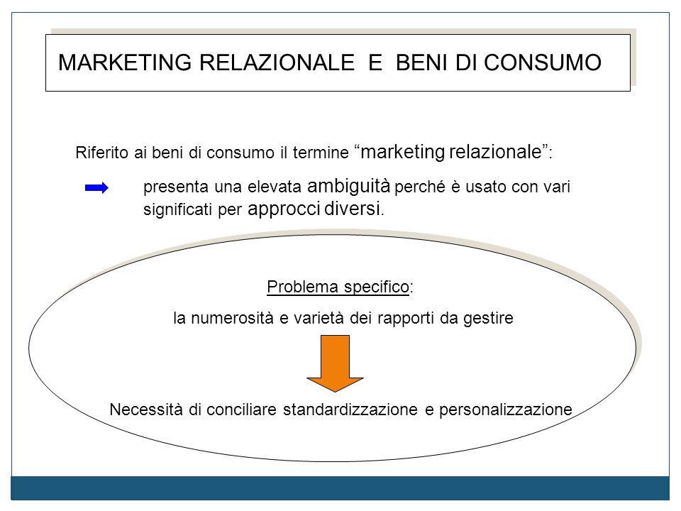 """MARKETING RELAZIONALE E BENI DI CONSUMO Riferito ai beni di consumo il termine """"marketing relazionale"""" : presenta una elevata ambiguità perché è usato"""
