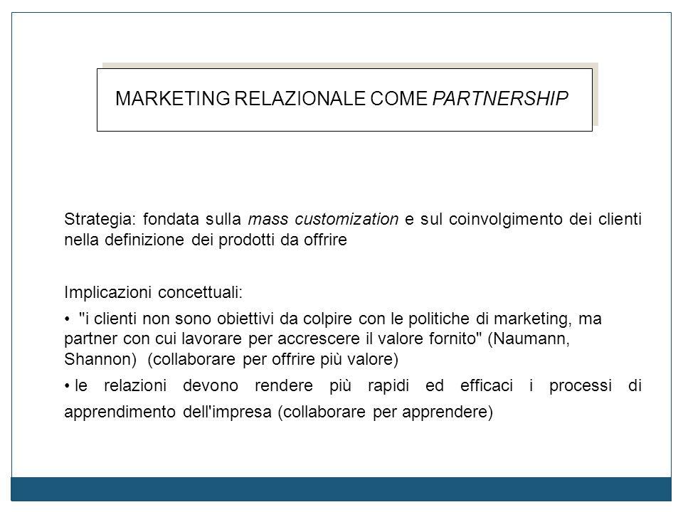 MARKETING RELAZIONALE COME PARTNERSHIP Strategia: fondata sulla mass customization e sul coinvolgimento dei clienti nella definizione dei prodotti da