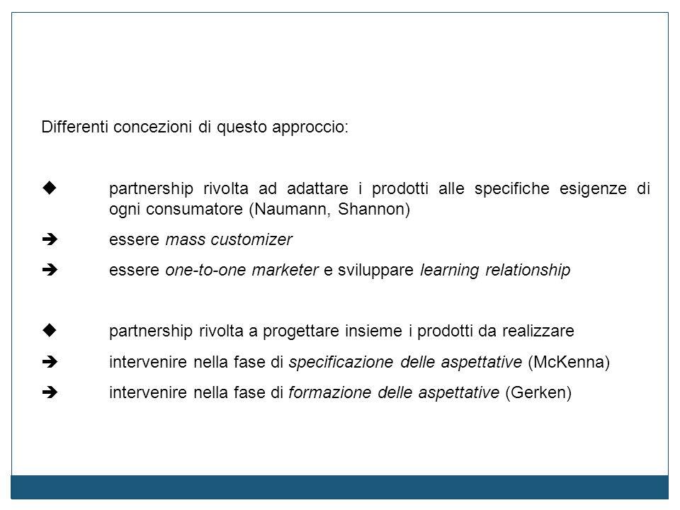 Differenti concezioni di questo approccio:  partnership rivolta ad adattare i prodotti alle specifiche esigenze di ogni consumatore (Naumann, Shannon
