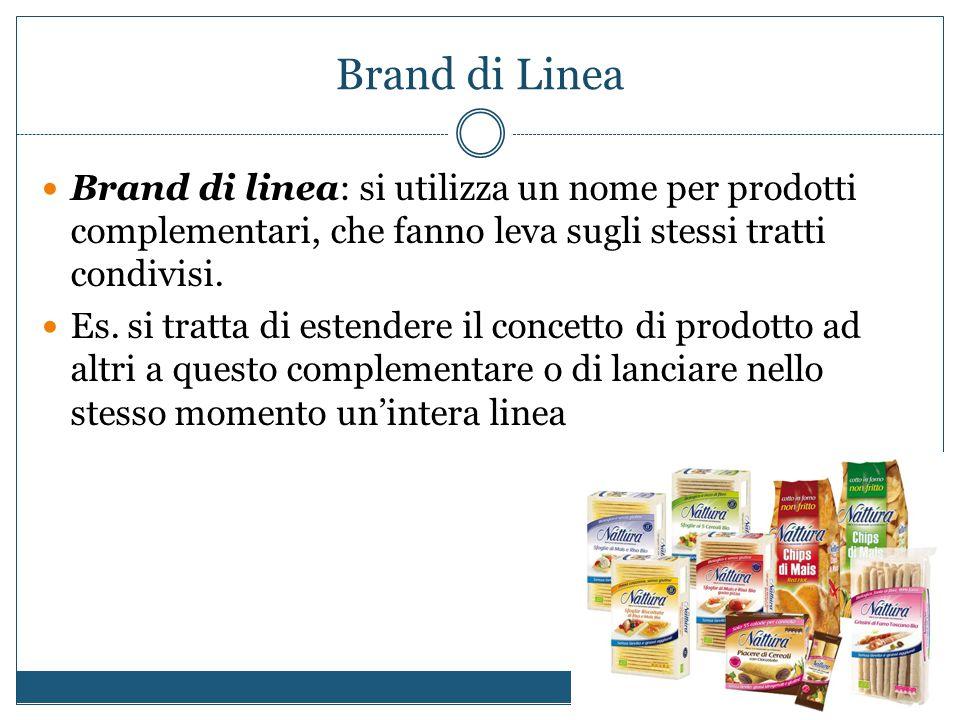 Brand di Linea Brand di linea: si utilizza un nome per prodotti complementari, che fanno leva sugli stessi tratti condivisi. Es. si tratta di estender