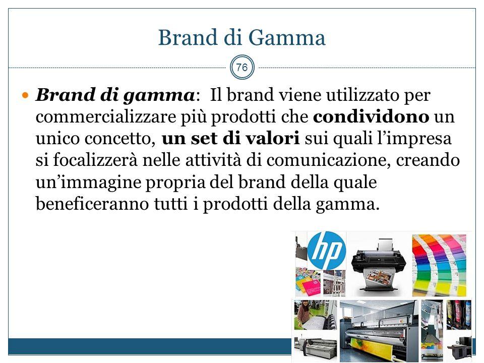Brand di Gamma Brand di gamma: Il brand viene utilizzato per commercializzare più prodotti che condividono un unico concetto, un set di valori sui qua